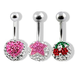 Navel Ring Swarovski Crystal Ferido Design Piercing