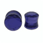 Blue Crystal Multi Faced Cut Saddle Plugs