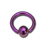 Titanium Anodized Purple Captive Bead Ring Coated BCR - As low as $0.58
