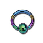 Titanium Anodized Rainbow Captive Bead Ring Coated BCR - As low as $0.58